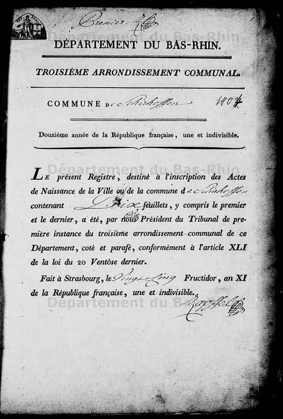 1er page d`un registre des naissances